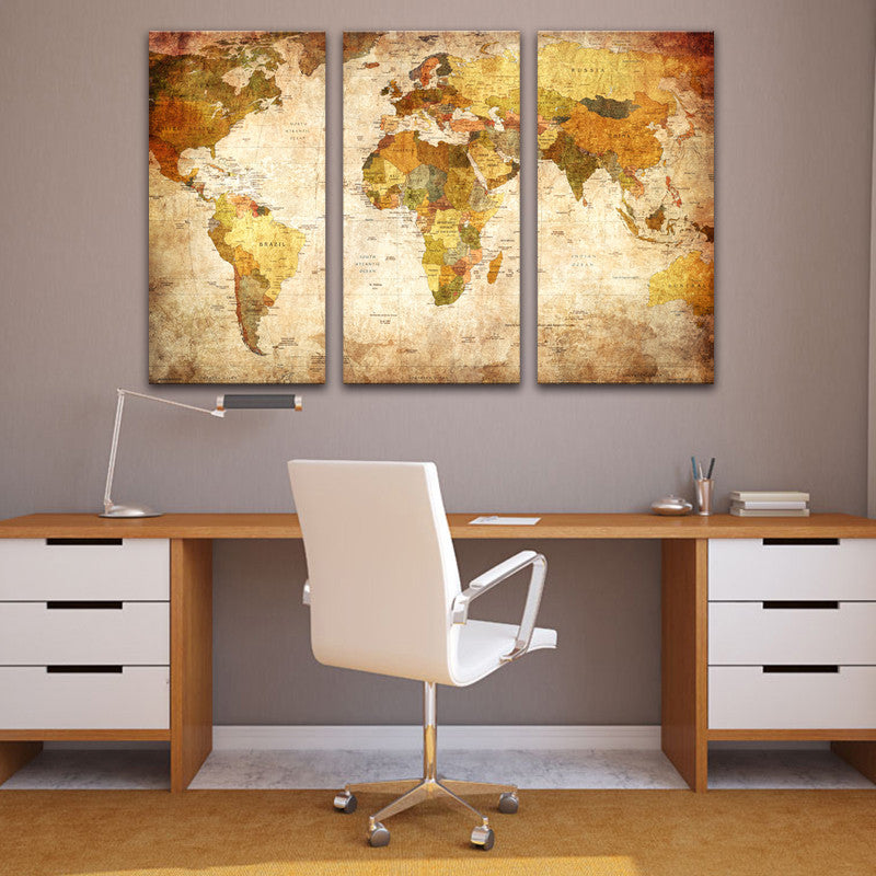 3 Pieces Classic World Maps Canvas Painting /Unframed