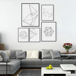 Modern Nordic Minimalist Black White Geometric Shape Canvas Painting /Unframed