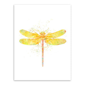 Watercolor Japanese Dragonfly Wall Art