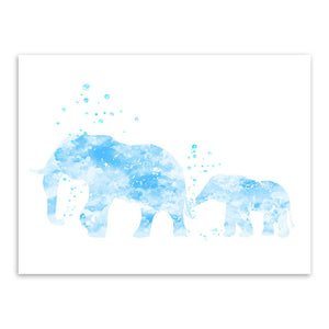 Watercolor Elephant Family Wall Art