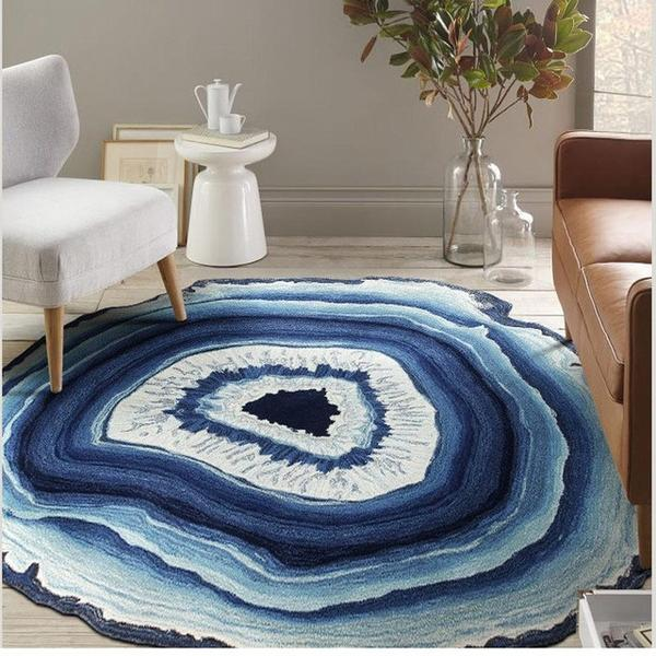 Blue Woven Crystal Cross Round Rug