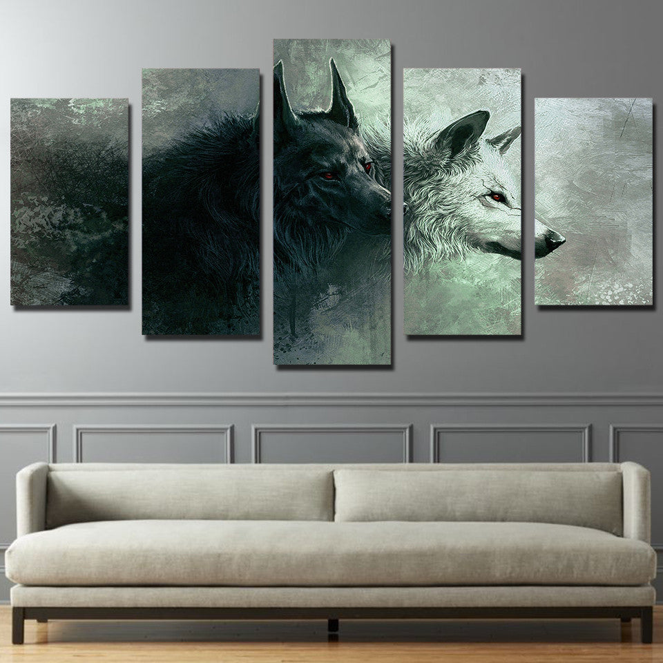 5 Panels Animal Wolf Art Canvas