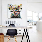 Hand Painted Modern Abstract Pig Wearing Glassess Wall Art /unframed