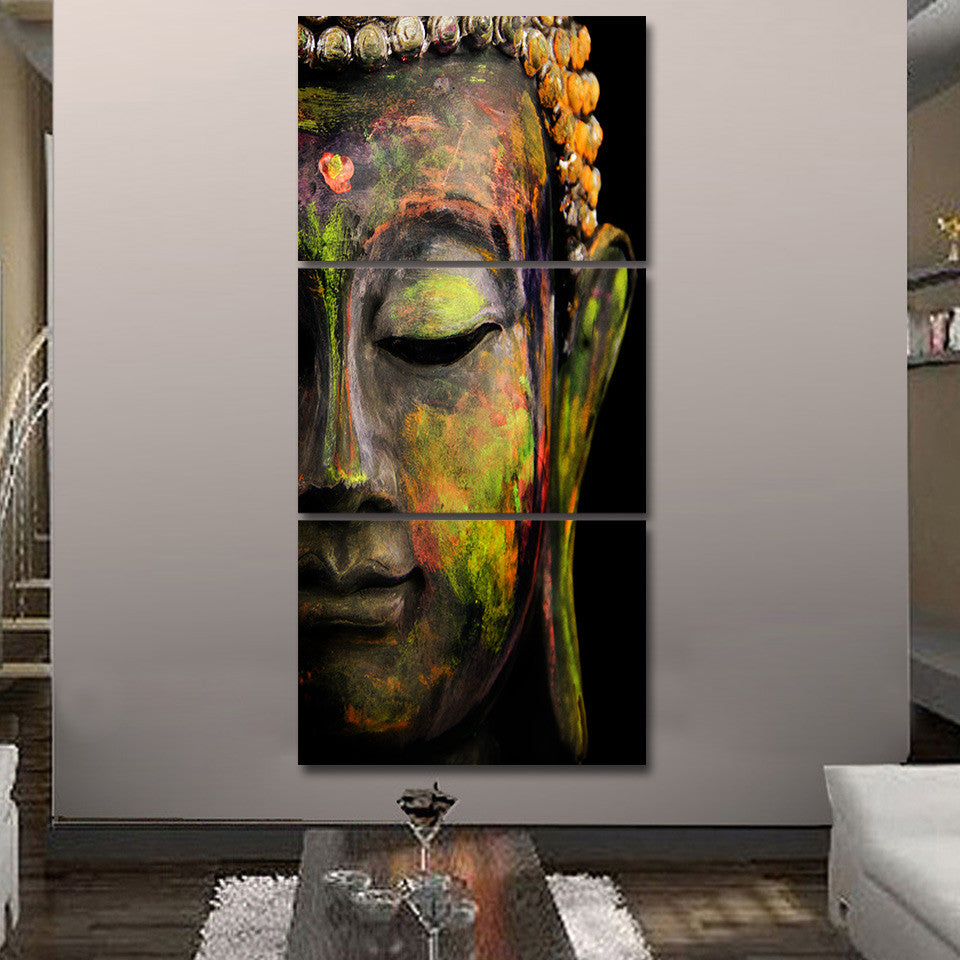 3 Pieces Buddha Meditation Canvas Painting