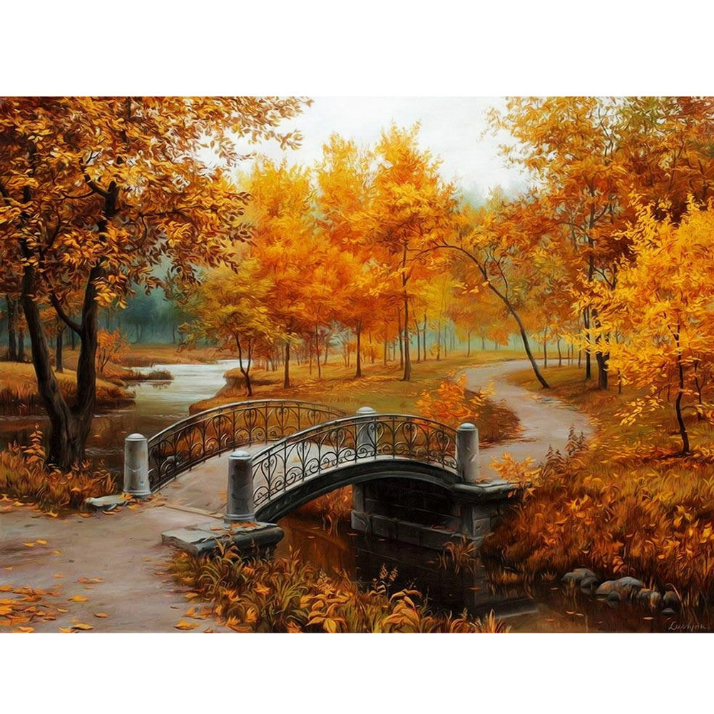 Bridge in the Forest Painting by Numbers