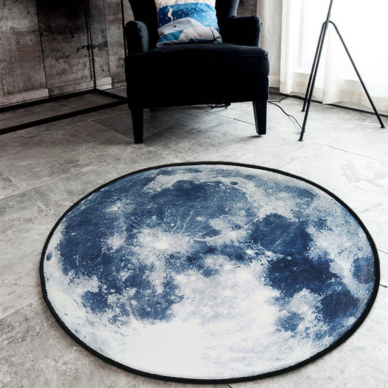 Unique Moon Earth Surface Round Rug