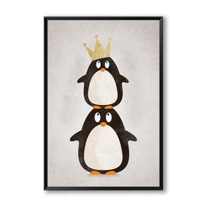 Modern Nordic Kawaii Bear Hippo Bird Animals Cartoon Wall Art /Unframed