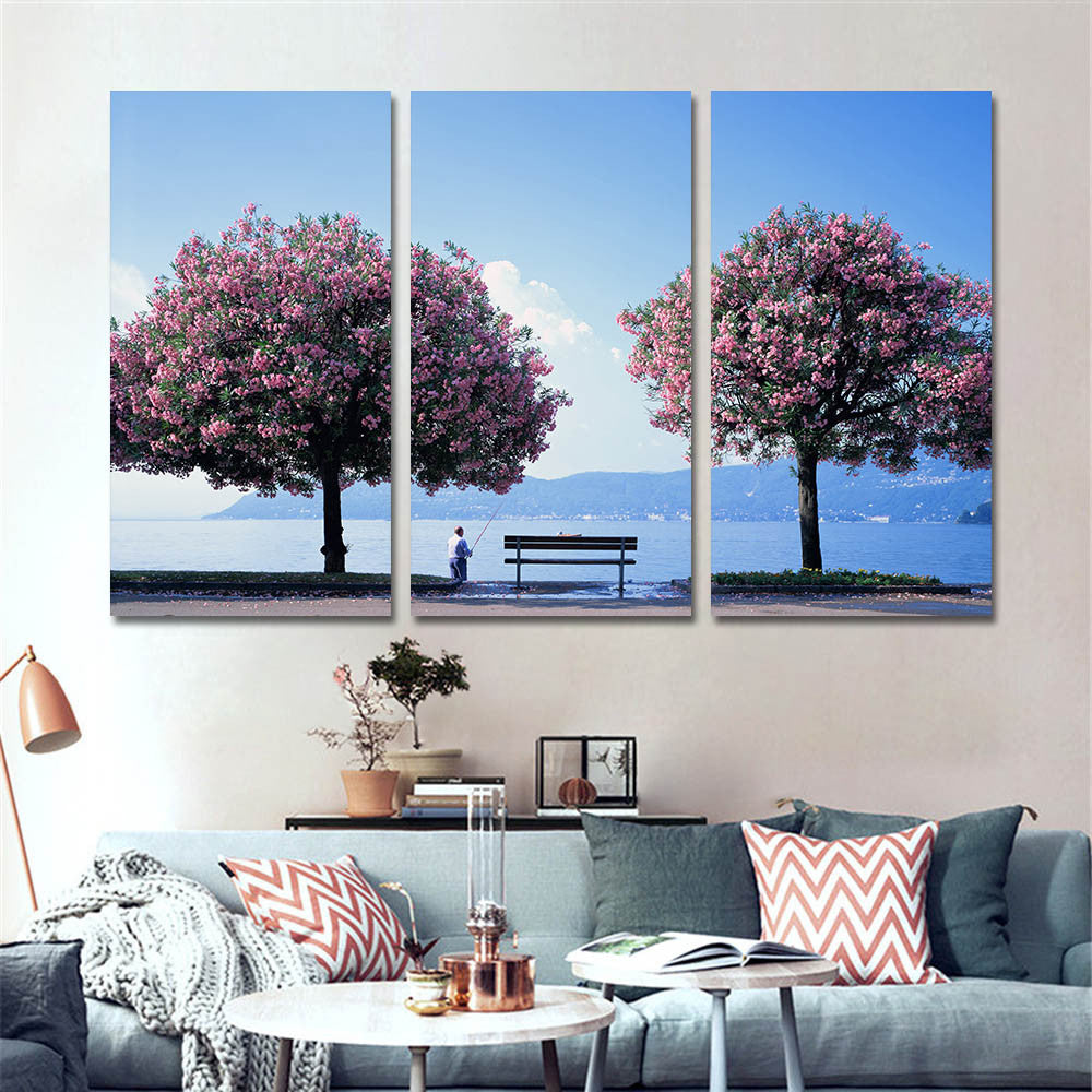 3 Panel Fisherman Canvas Painting /Unframed