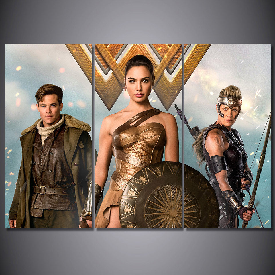 3 Pieces Wonder Woman Canvas Painting