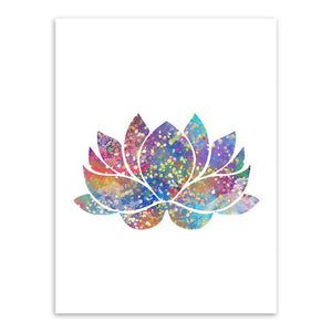 Watercolor Buddha Zen Lotus Wall Art