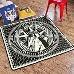 Black and White Statue of Liberty Square Rug