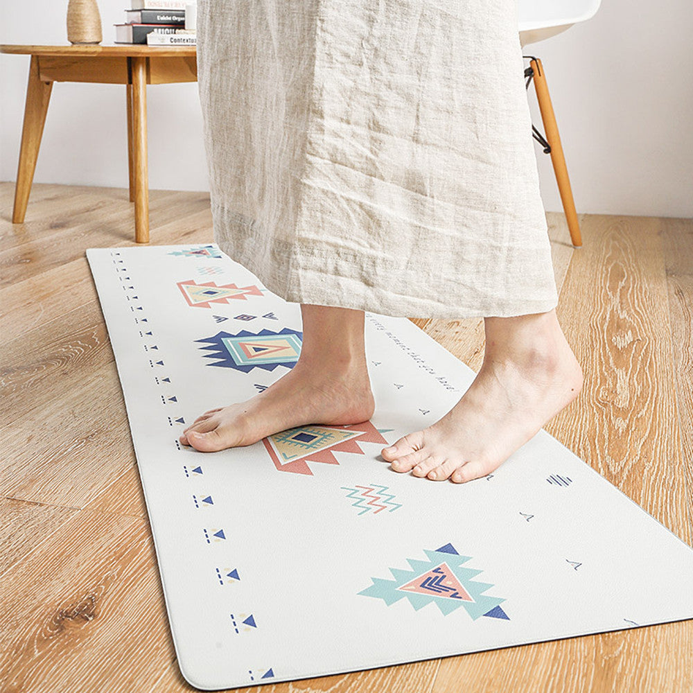 White Non-Slip Waterproof and Oil Proof Geometric Kitchen Rug