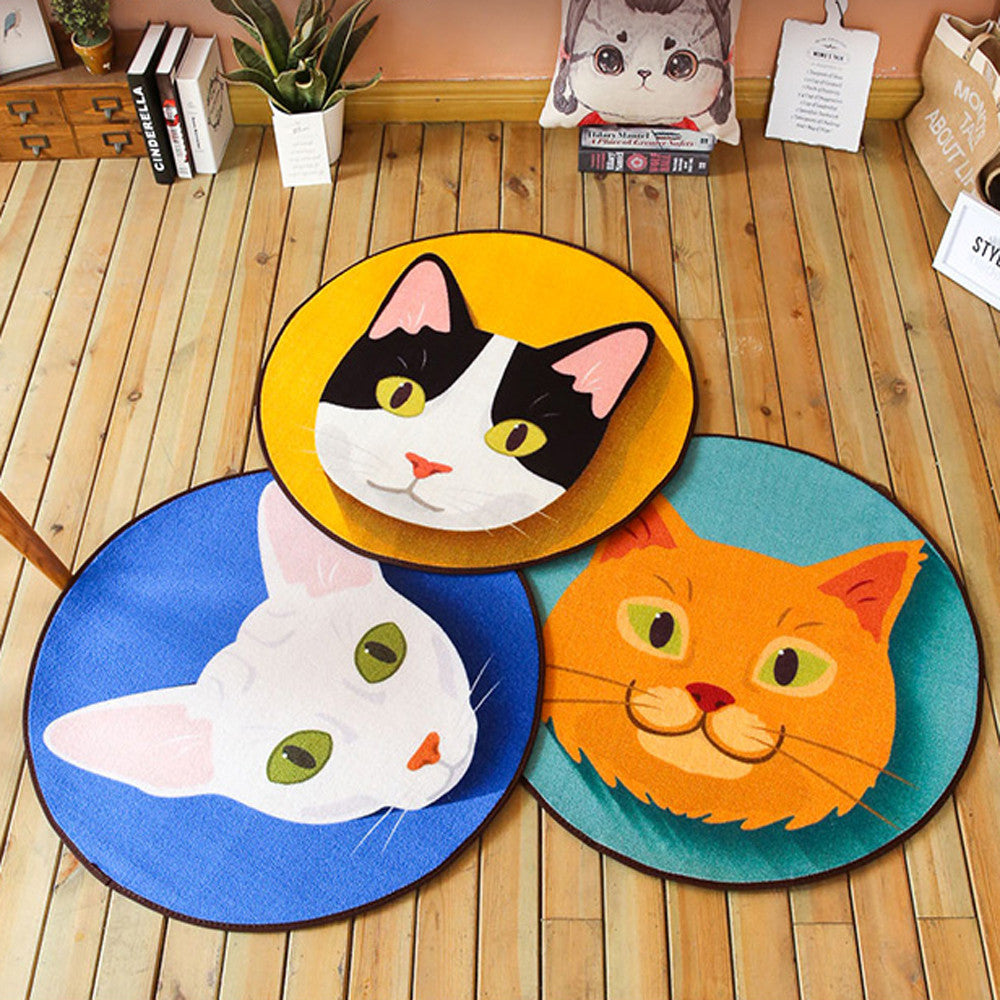 Cartoon Cute Cat Round Rug