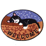 Embroidery Cute Sleeping Cats Non-slip Rug