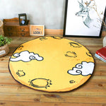 Cartoon Moon Surface Round Rug