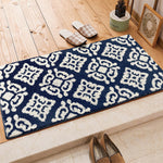 Blue/Brown/Dark Gray Geometry Soft Shaggy Rug