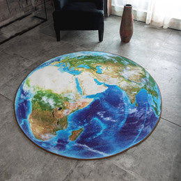 Blue 3D Earth Round Rug