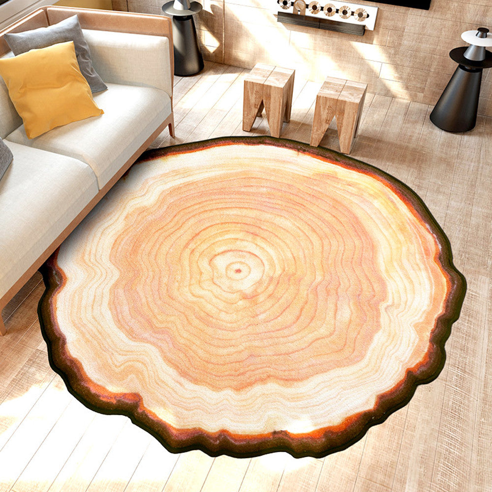 Antique Wood Tree Ring Round Rug