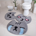 Microfiber Soft Fluffy Crying Cat Bathroom Rug