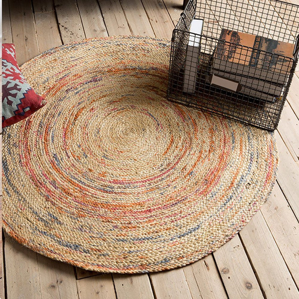 Indian Natural Jute Yarns Round Rug