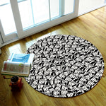 Black and White Lettering Round Rug