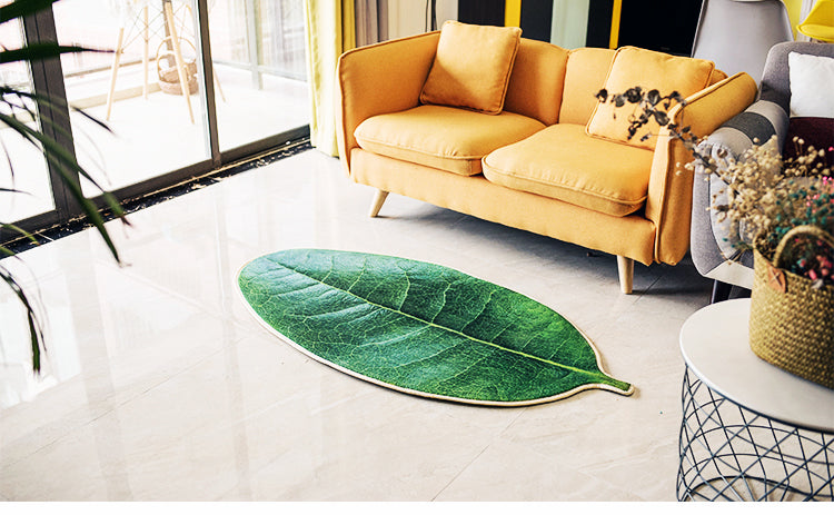 3D Design Green Leaves Kitchen Rug
