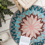 Machine Embroidered Geometric Stripes Round Rug