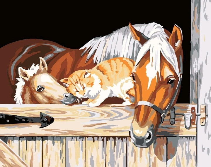 Horses with Cat Painting By Numbers