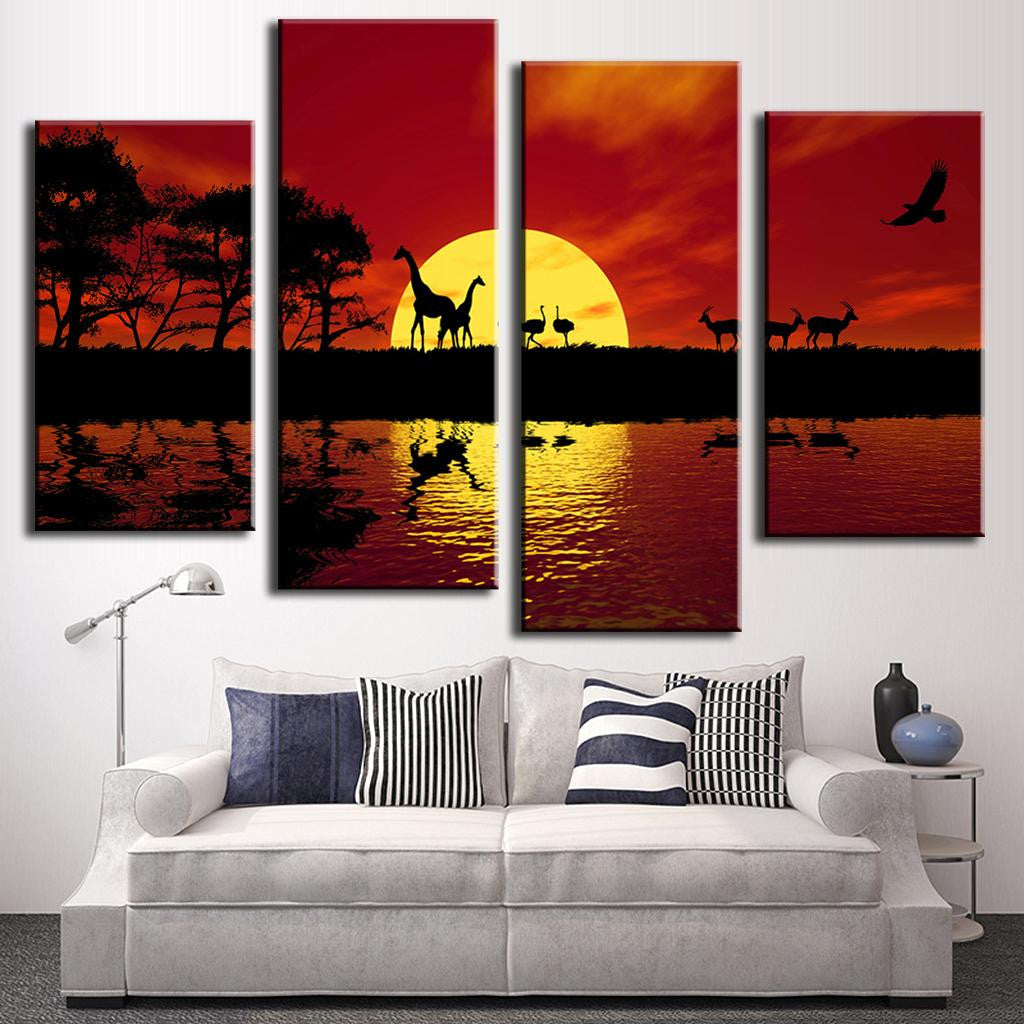 4 Pieces Landscape Sunset Canvas Painting