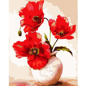 Red Flowers Painting By Numbers \Unframed
