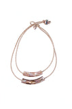 LIBELLULA LEATHER DOUBLE SHELL TUBE NECKLACE