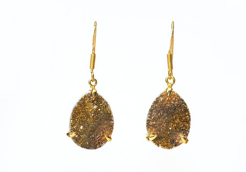 AURORA DROPLET GOLD DRUSY EARRINGS