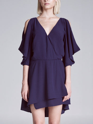 ANDREA DRAPE SHOULDER DRESS