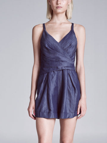 VERONA DENIM PLEATED ROMPER