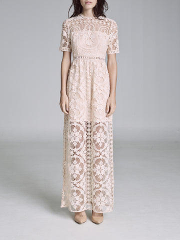 PADUA EMBROIDERED SHORT SLEEVE MAXI DRESS