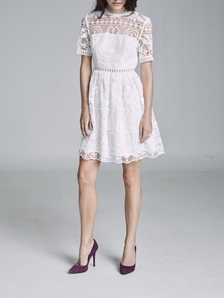 PADUA EMBROIDERED SHORT SLEEVE DRESS