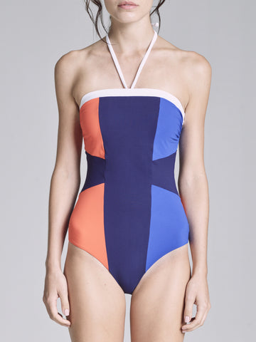 COLOR BLOCK BANDEAU ONE PIECE