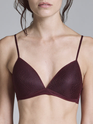 BURGUNDY LACE DETAILED TRIANGLE BRA