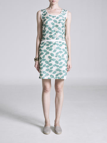 METISEKO ASIA AQUATIC LEAF SILK DRESS FRONT