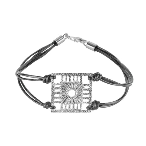 MADRIGAL SQUARE LEATHER AND SILVER BRACELET