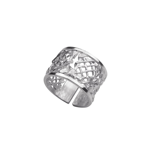 TRAMA LARGE ADJUSTABLE SILVER RING