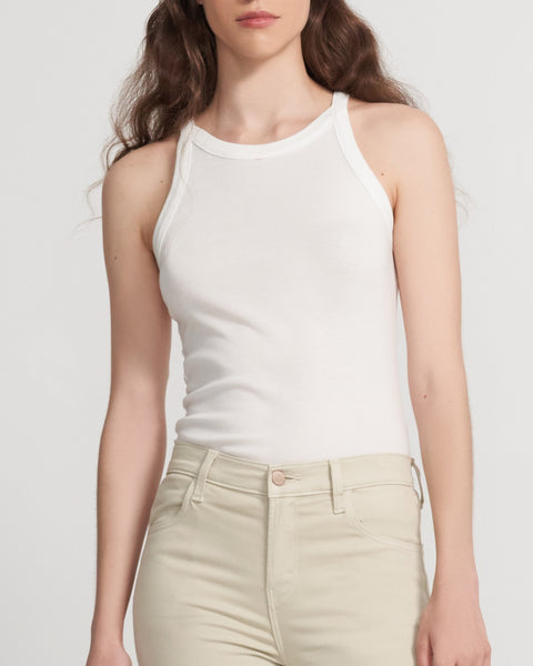 J Brand Claire Ribbed Tank in White