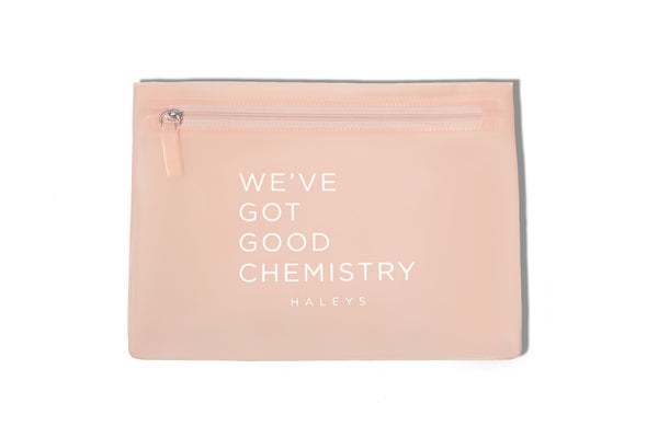 WE'VE GOT GOOD CHEMISTRY Front Zip Pouch Pink