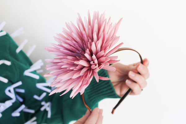 Looking for the perfect houseplant costume this Halloween that's cheap, easy, and quick? Woman's headband with pink flower attached with hot glue