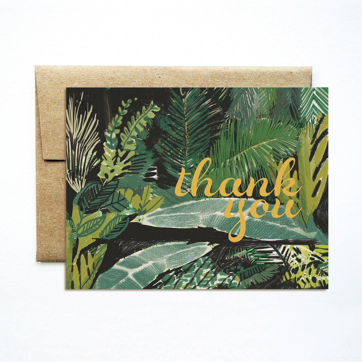 Foil Palms Green Thank You Card