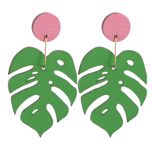 Monstera Stud Dangles Earrings
