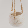 Hanging Geometric Pattern Planter with Wood Beads
