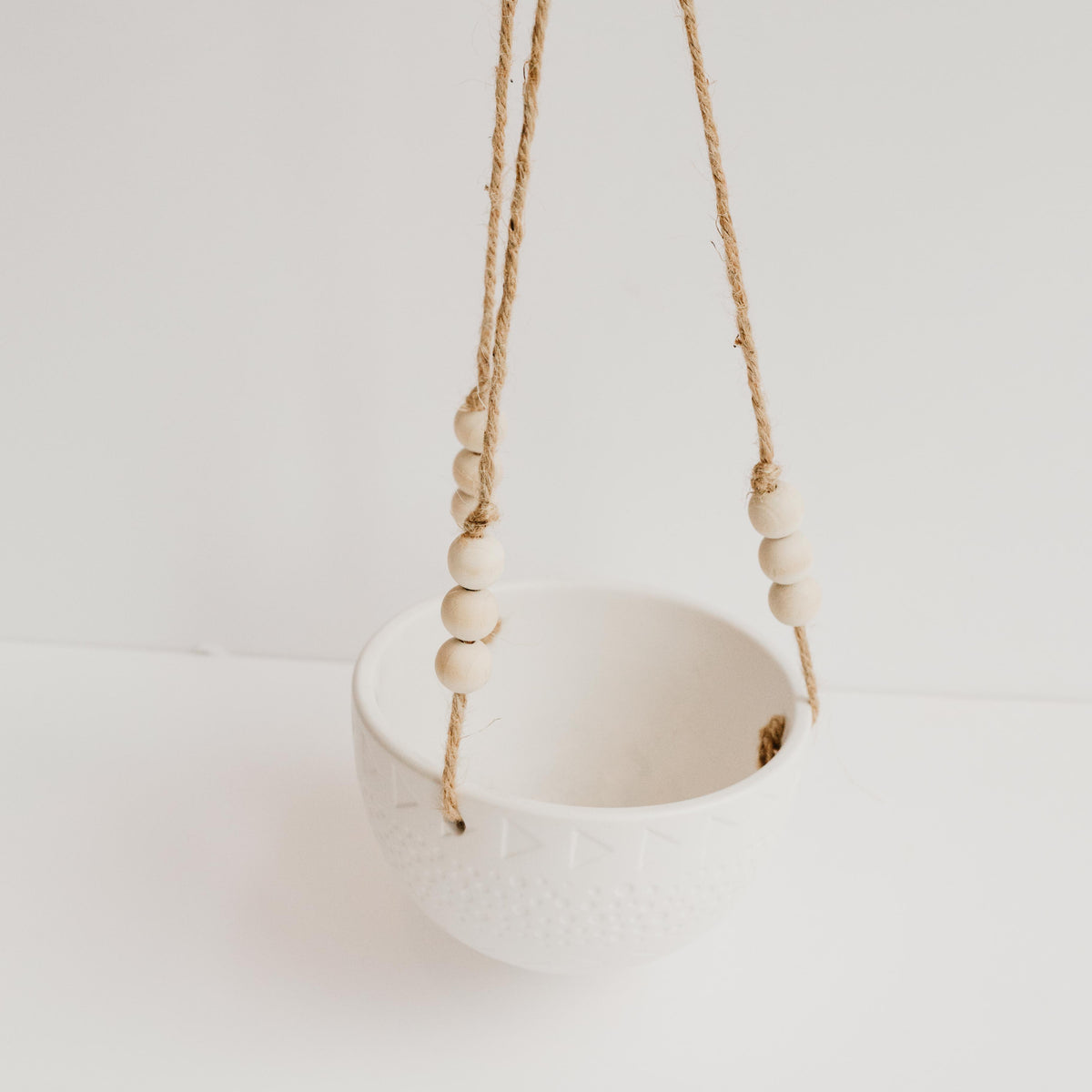 Hanging White Patterned Planter with Wood Beads