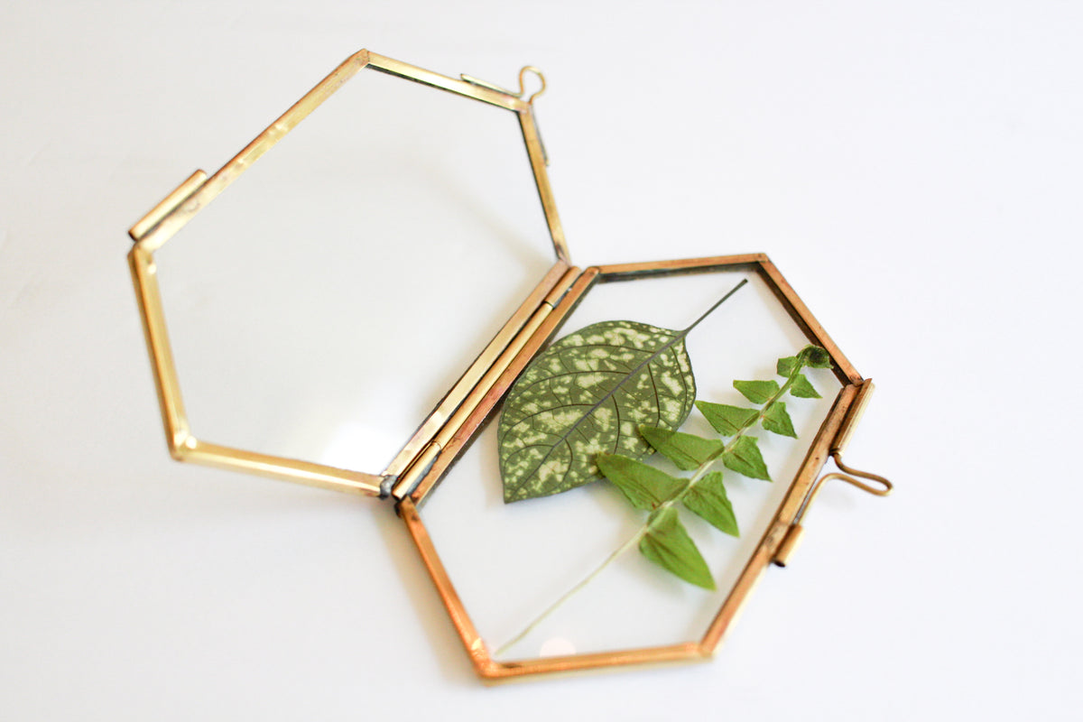 Brass Hanging Frame - Hexagon