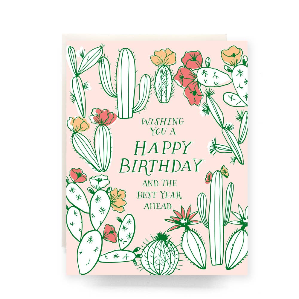Cactus Toile Birthday Greeting Card